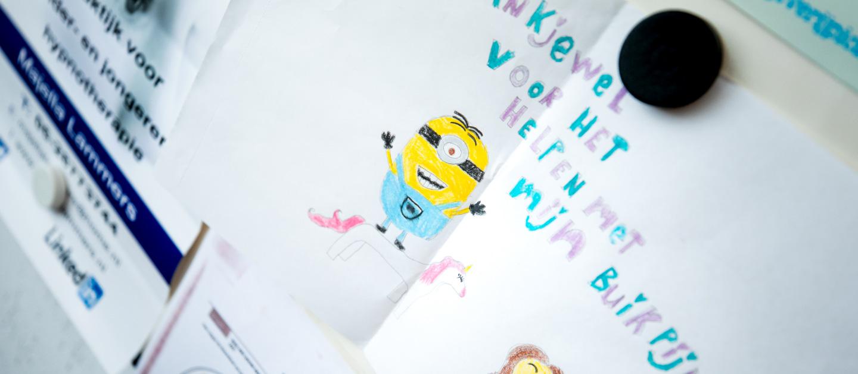 Tekening van kind voor Majella: Bedankt!